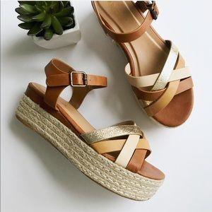 1540458231d NEW ✨ tan gold Espadrille Platform Sandals shoes